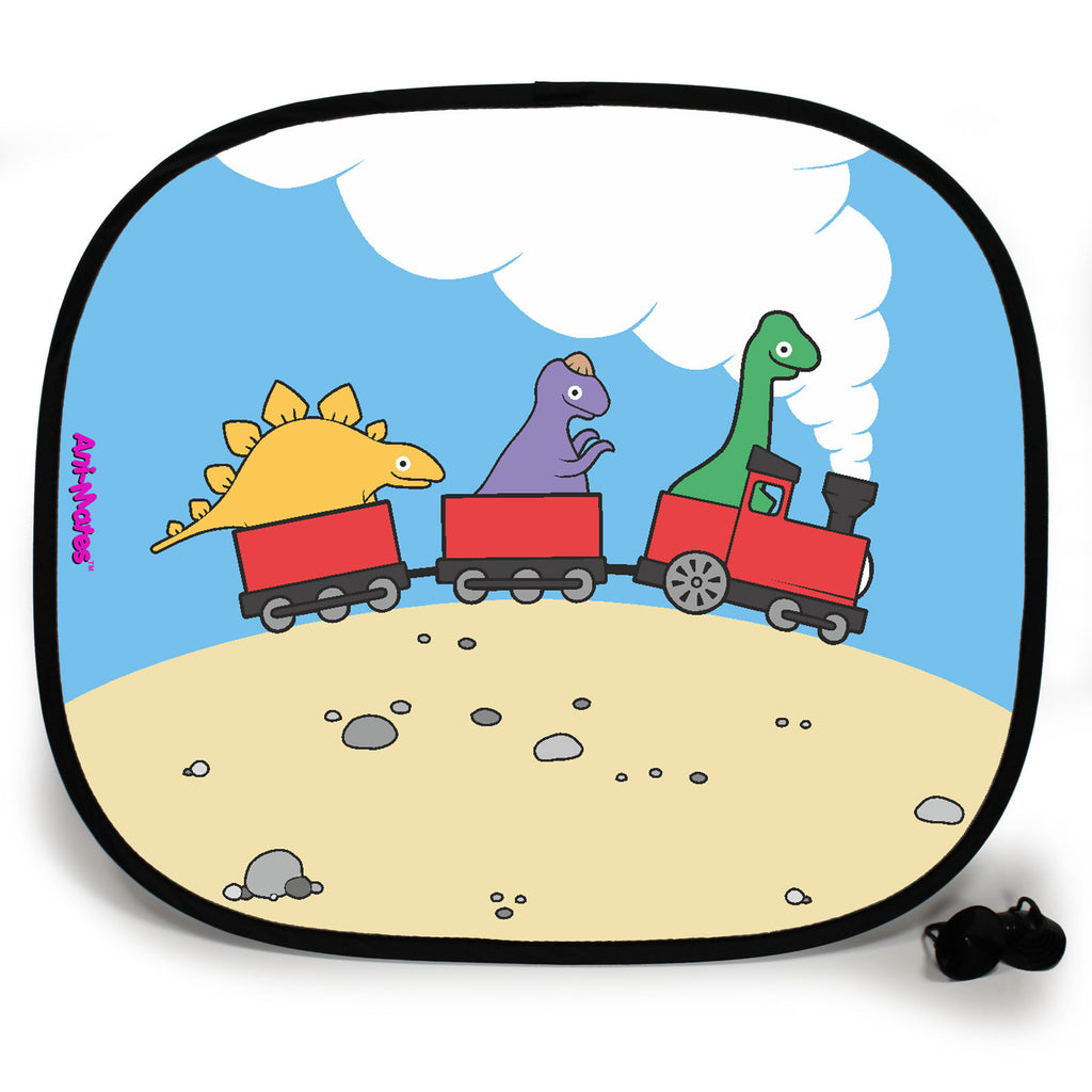 Ani-Mates Dinosaur Choo Choo Personalised UV Protection Fun Vehicle Interior Window Car Sunshade