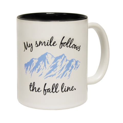 Powder Monkeez My Smile Follows The Fall Line Funny Skiing Snowboarding Mug
