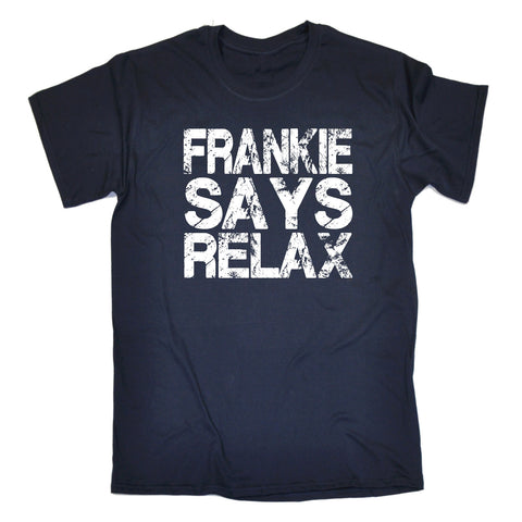 123t Men's Frankie Says Relax ... Distressed Logo Funny T-Shirt