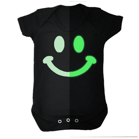 123t Baby Glow In The Dark Smiley Funny Babygrow