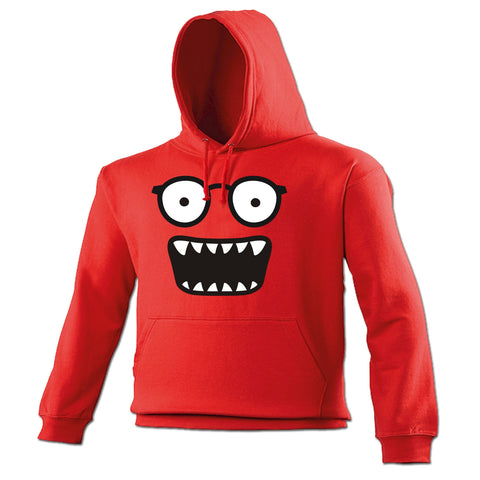 123t Glasses Monster Teeth Design Funny Hoodie