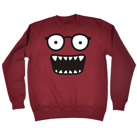 123t Glasses Monster Teeth Design Funny Sweatshirt