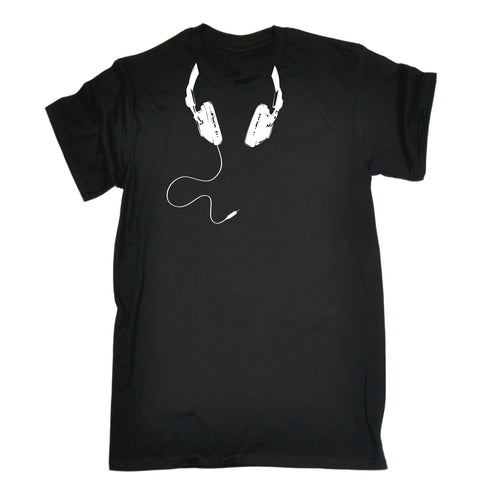 123t Men's Headphone Cable Around Neck Design Funny T-Shirt
