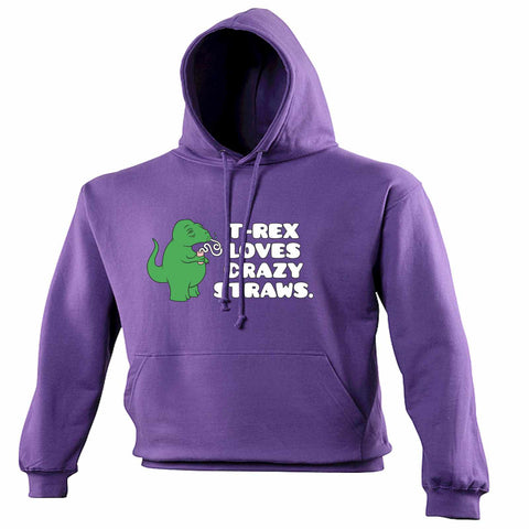 123t T -Rex Loves Crazy Straws Funny Hoodie