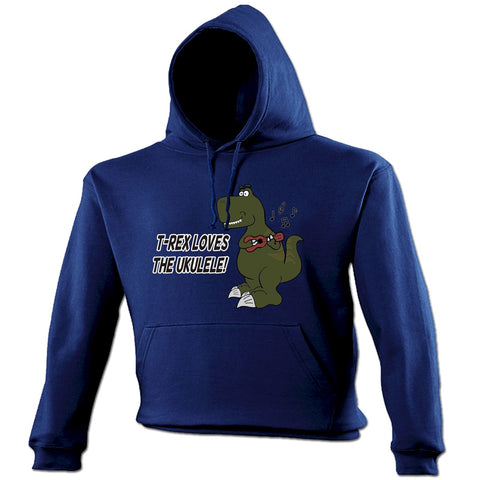 123t T -Rex Loves The Ukulele Funny Hoodie
