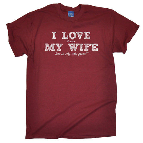 ILIWMW Men's I Love It When My Wife Lets Me Play Video Games Funny T-Shirt
