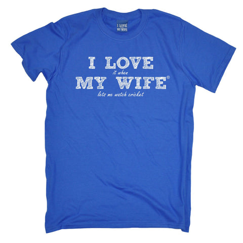 ILIWMW Men's I Love It When My Wife Lets Me Watch Cricket Funny T-Shirt