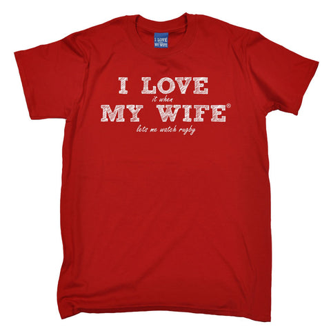 ILIWMW Men's I Love It When My Wife Lets Me Watch Rugby Funny T-Shirt
