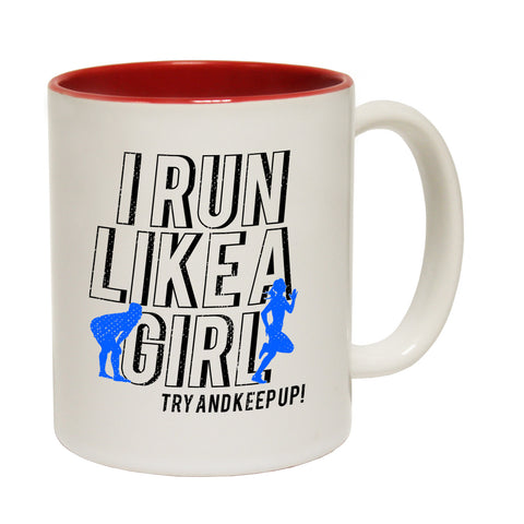 Personal Best I Run Like A Girl Try And Keep Up Funny Running Mug