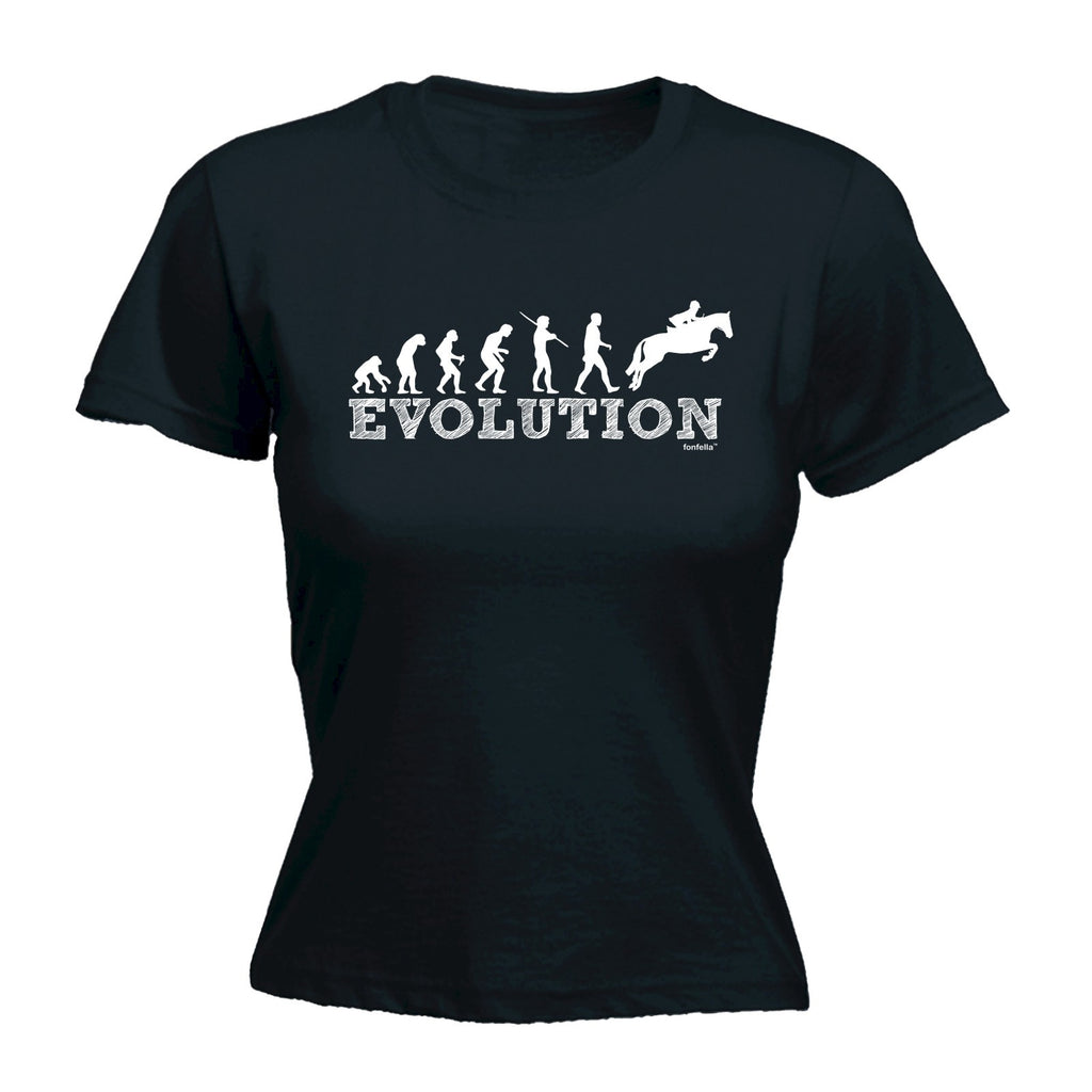 123t Women's Evolution Horse Jumping Funny T-Shirt