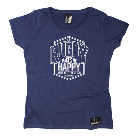 Up and Under Womens - Rugby Makes Me Happy - Rugby DRYFIT PERFORMANCE ROUND NECK T-SHIRT