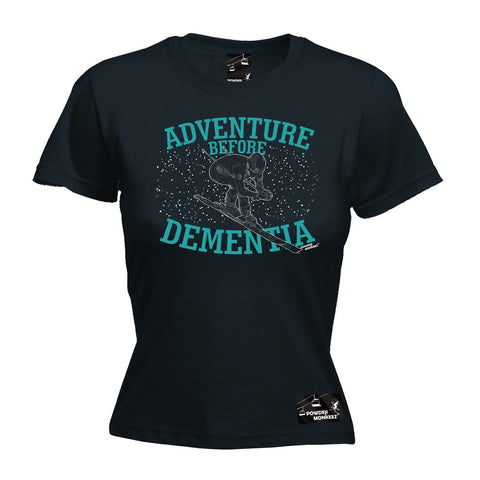 Powder Monkeez Women's Adventure Before Dementia Ski Graphic Design Skiing T-Shirt