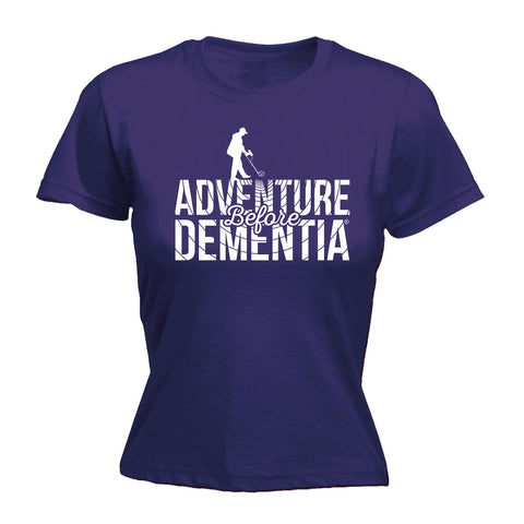123t Women's Adventure Before Dementia Metal Detector Funny T-Shirt