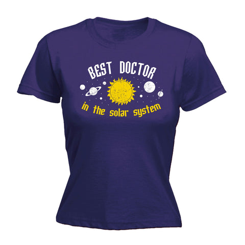 123t Women's Best Doctor In The Solar System Galaxy Design Funny T-Shirt