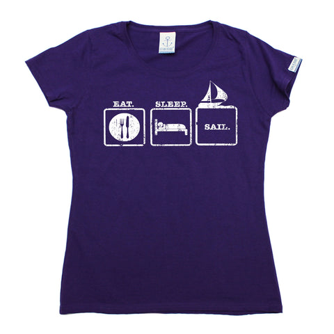 Ocean Bound Women's Eat Sleep Sail Sailing T-Shirt
