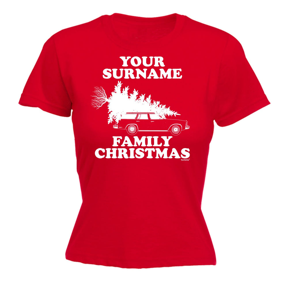 Design tshirt family - 123t Women S Your Personalised Surname Family Christmas Design Funny T Shirt