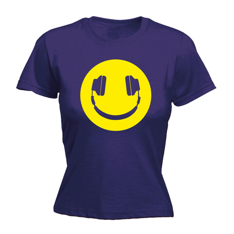 123t Women's Headphone Smiley Design Funny T-Shirt
