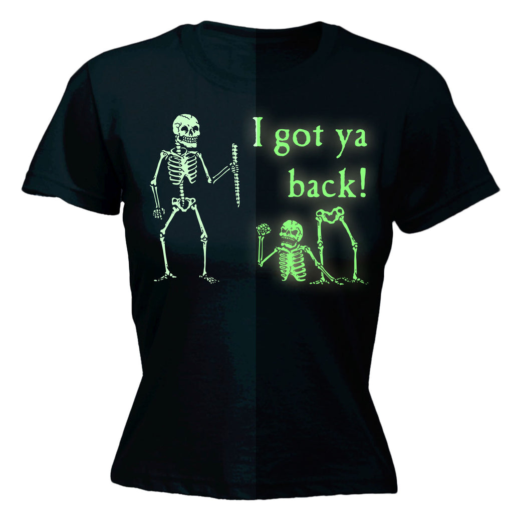 123t Women's I Got Ya Back Skeleton GLOW IN THE DARK - FITTED T-SHIRT
