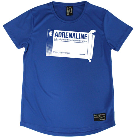 Women's Adrenaline Addict - Adrenaline Drug Of Choice - Premium Dry Fit Breathable Sports ROUND NECK T-SHIRT - tee top Rock Climbing Bouldering t shirt Accessories
