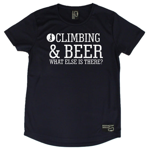 Women's Adrenaline Addict - Climbing and Beer - Premium Dry Fit Breathable Sports ROUND NECK T-SHIRT - tee top Rock Climbing Bouldering t shirt Accessories