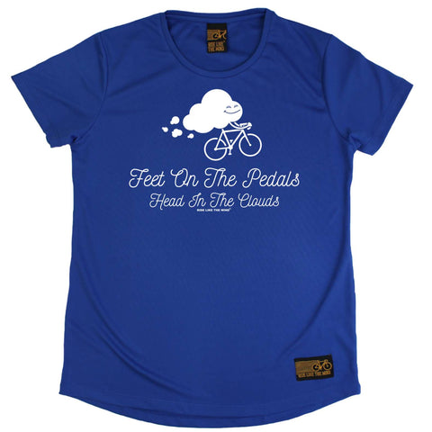 Ride Like The Wind Womens - Feet On The Pedals - Cycling DRYFIT PERFORMANCE ROUND NECK T-SHIRT