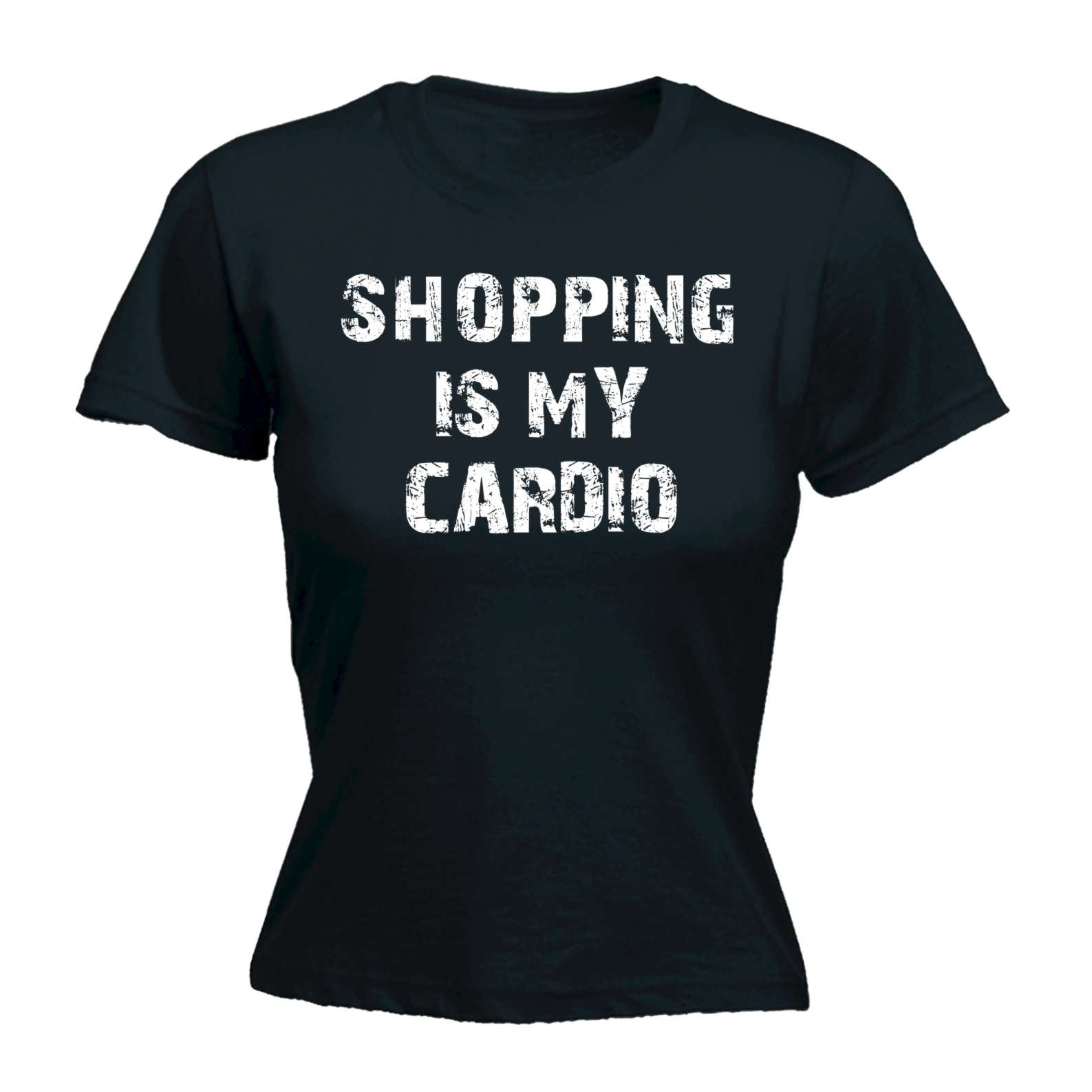 28e76663 Funny Womens t shirt - 123t Shopping Is My Cardio - Adult Humour Joke  Comedy FITTED