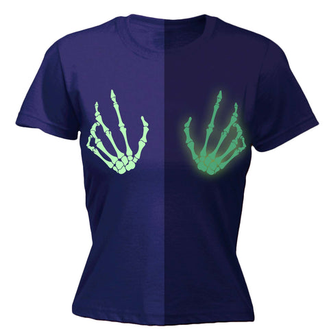 123t Women's Skeleton Boobs GLOW IN THE DARK - FITTED T-SHIRT
