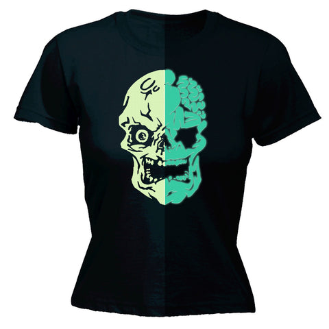 123t Women's Glow In The Dark Skull Funny T-Shirt