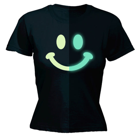 123t Women's Glow In The Dark Smiley Face Funny T-Shirt