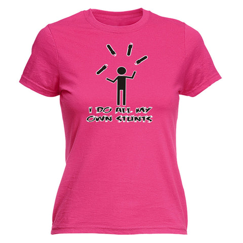 123t Women's I Do All My Own Stunts Chainsaw Funny T-Shirt