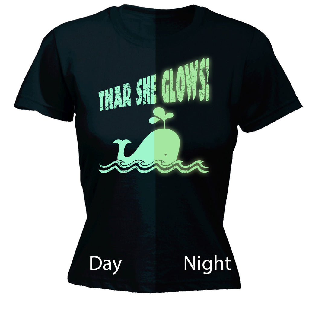 123t Women's Thar She Glows ... Glow In The Dark Whale Funny T-Shirt