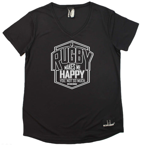 Up and Under Women's - Rugby Makes Me Happy - Rugby DRYFIT PERFORMANCE V NECK T-SHIRT