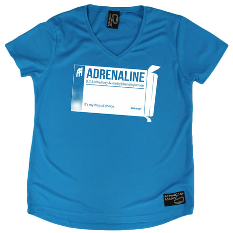Women's Adrenaline Addict - Adrenaline Drug Of Choice - Premium Dry Fit Breathable Sports V-Neck T-SHIRT - tee top Rock Climbing Bouldering t shirt Accessories