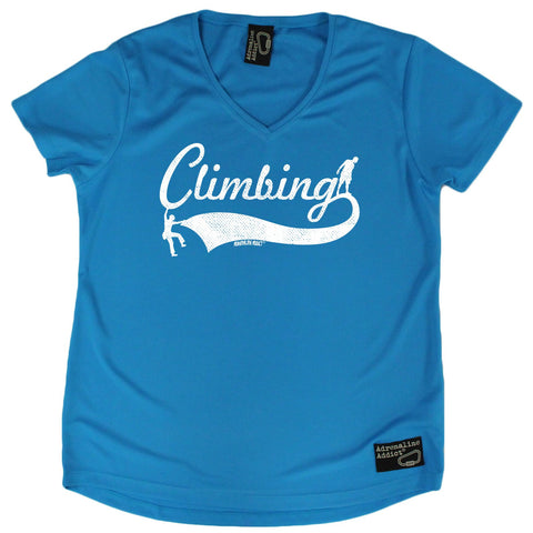 Women's Adrenaline Addict - 2 Climbers Climbing - Premium Dry Fit Breathable Sports V-Neck T-SHIRT - tee top Rock Climbing Bouldering t shirt Accessories