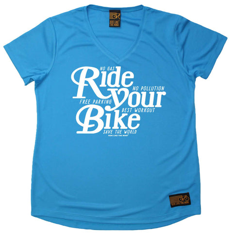 Ride Like The Wind Women's - Ride Your Bike - Cycling DRYFIT PERFORMANCE V NECK T-SHIRT