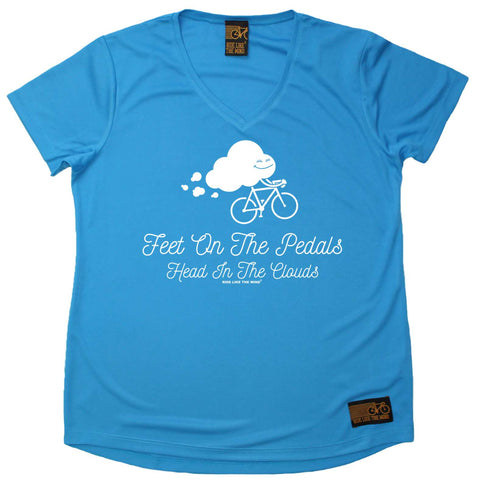 Ride Like The Wind Women's - Feet On The Pedals - Cycling DRYFIT PERFORMANCE V NECK T-SHIRT