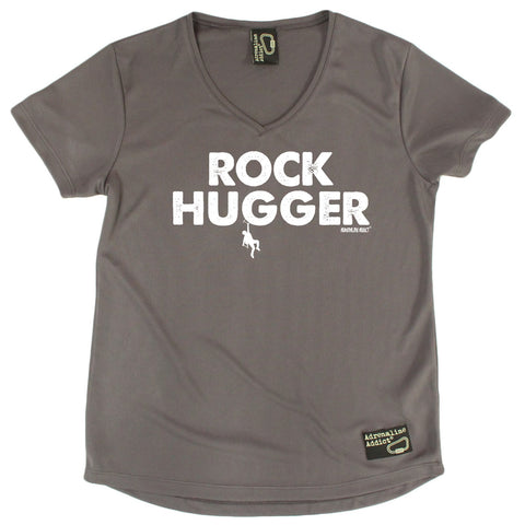 Women's Adrenaline Addict - Rock Hugger - Premium Dry Fit Breathable Sports V-Neck T-SHIRT - tee top Rock Climbing Bouldering t shirt Accessories
