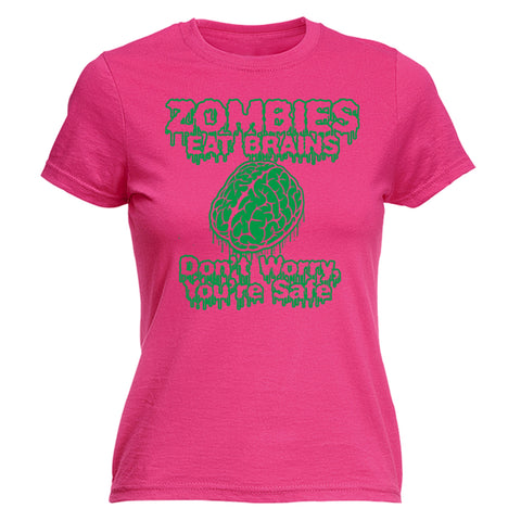 Christmas Womens t shirt - 123t Zombies Eat Brains Your Safe - Joke Sassy Sarcastic Humour FITTED tshirt tshirts shirts T-SHIRT Birthday Christmas Gift Novelty Present Clothing