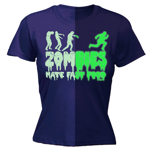123t Women's Zombies Hate Fast Food Glow In The Dark Funny T-Shirt