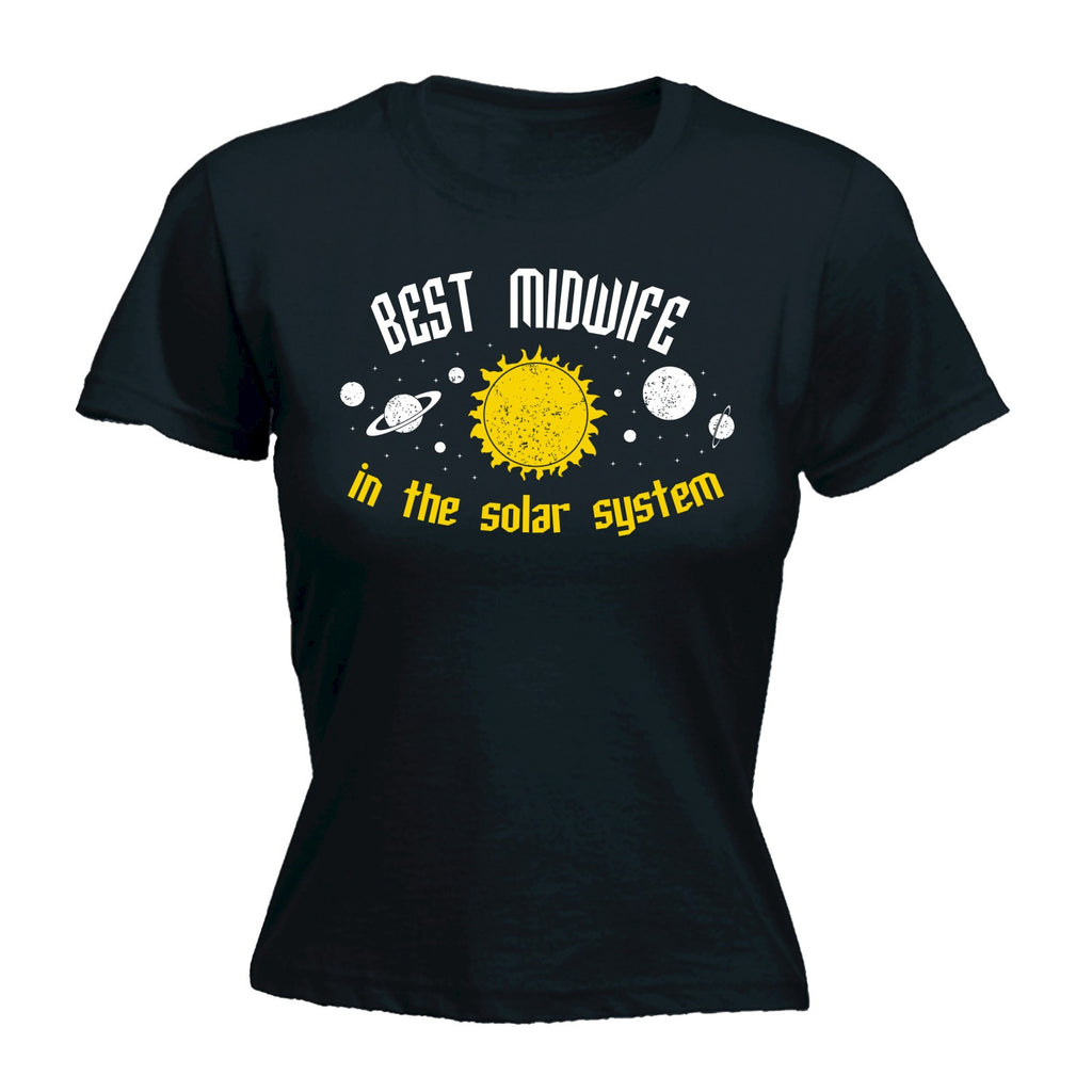 123t Women's Best Midwife In The Solar System Galaxy Design Funny T-Shirt