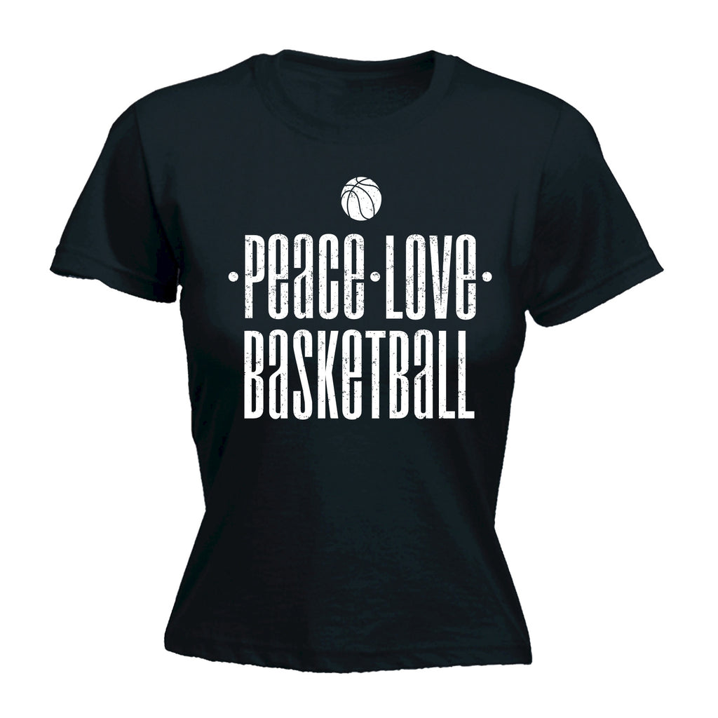 123t Women's Peace Love Basketball Funny T-Shirt