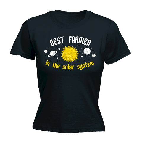 123t Women's Best Farmer In The Solar System Galaxy Design Funny T-Shirt