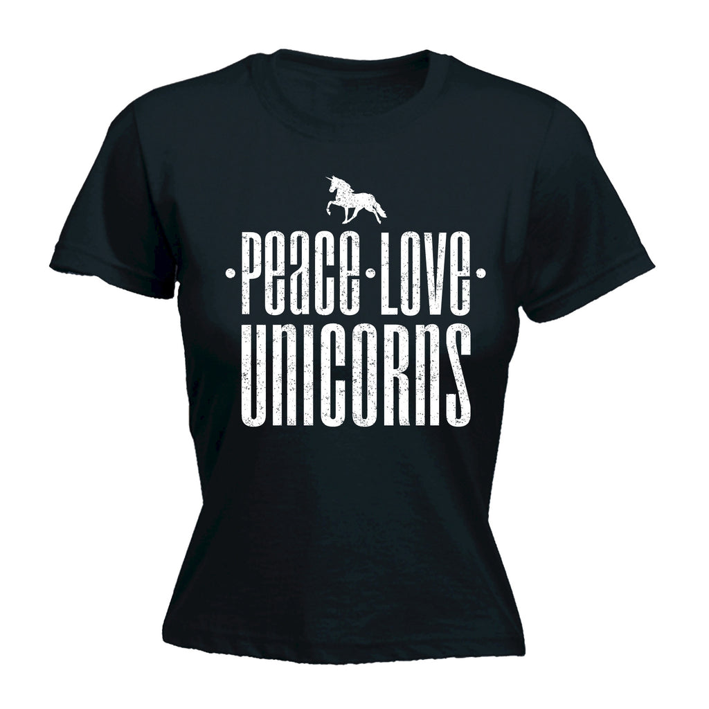 123t Women's Peace Love Unicorns Funny T-Shirt