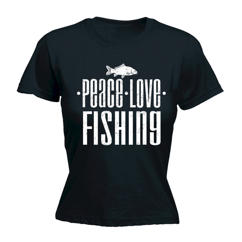 123t Women's Peace Love Fishing Funny T-Shirt