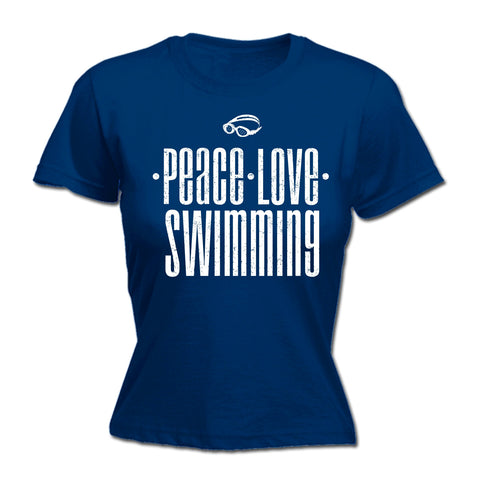 123t Women's Peace Love Swimming Funny T-Shirt