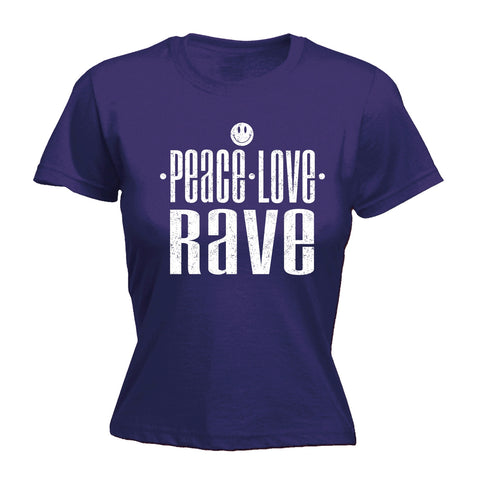 123t Women's Peace Love Rave Funny T-Shirt