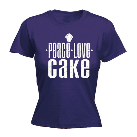 123t Women's Peace Love Cake Funny T-Shirt