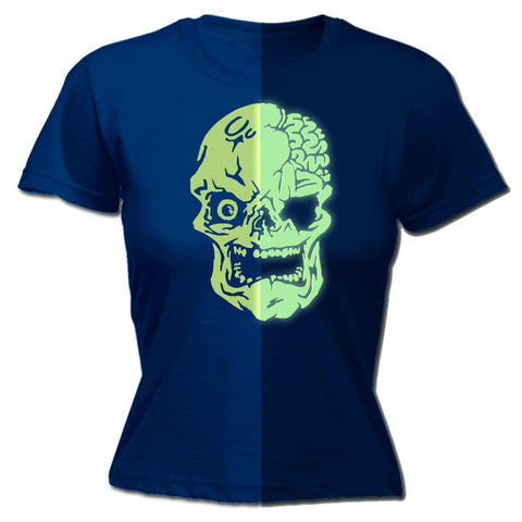 123t Women's Skull Design Glow In The Dark Funny T-Shirt