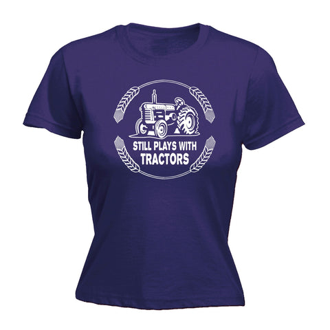 123t Women's Still Plays With Tractors Funny T-Shirt