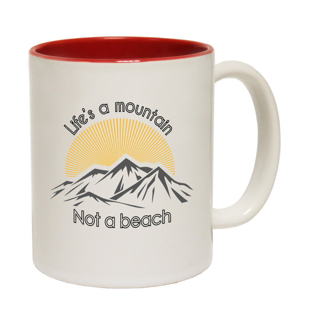 Powder Monkeez Life's A Mountain Not A Beach Funny Skiing Snowboarding Mug